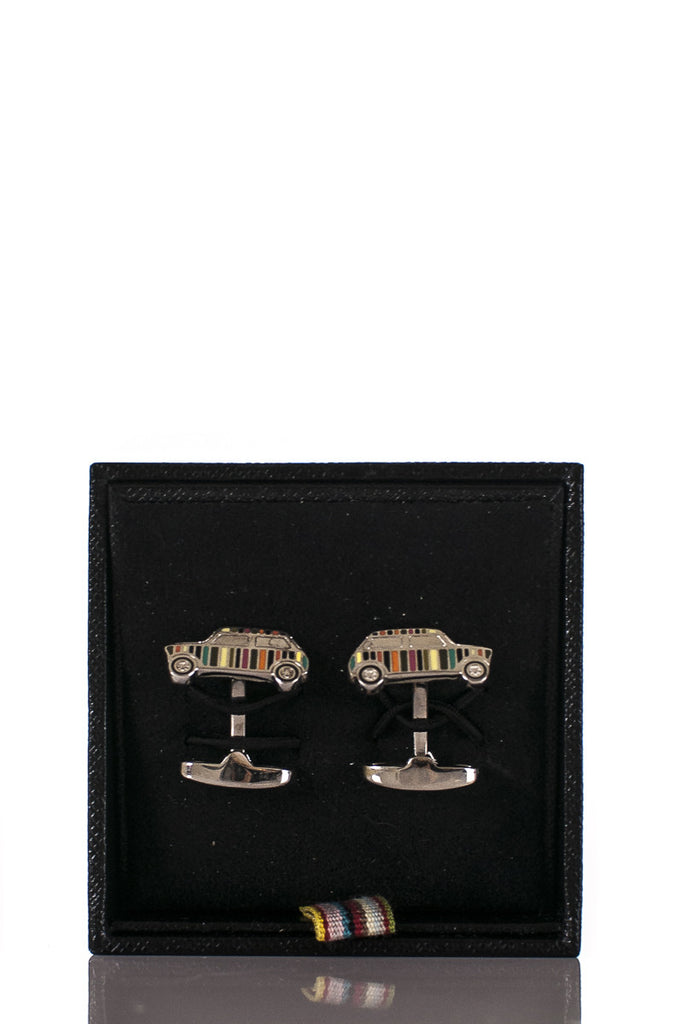 Paul Smith sterling silver striped car cufflinks - OWN THE COUTURE