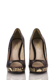 Prada open toe snakeskin platform pumps Size 9 - OWN THE COUTURE