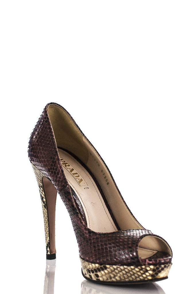 Prada open toe snakeskin platform pumps Size 9 - OWN THE COUTURE  - 2