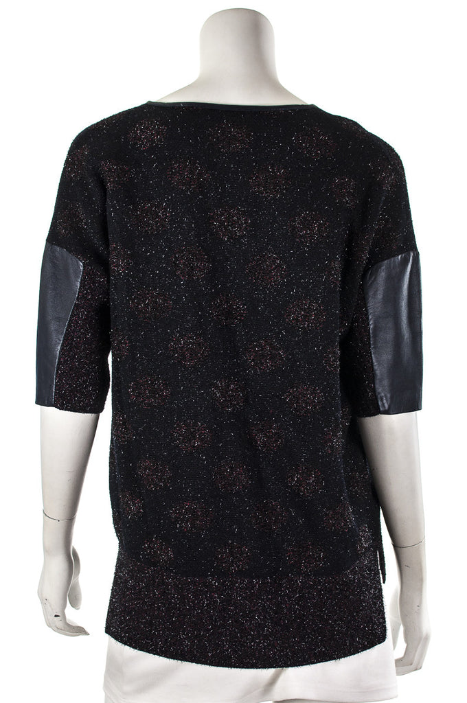 St. John polka dot lurex and leather trim knit top Size S  [40% OFF] - OWN THE COUTURE