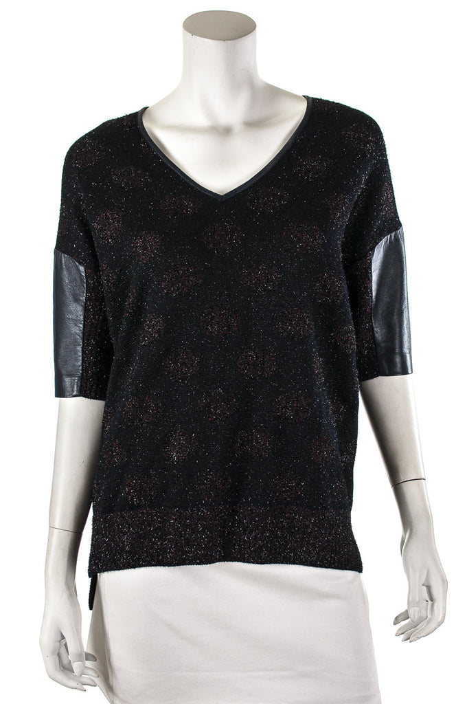 St. John polka dot lurex and leather trim knit top Size S  [20% OFF] - OWN THE COUTURE
