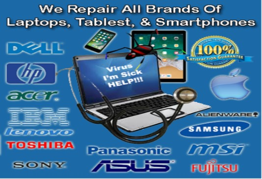 We repair all brands of Laptops, Desktops, Tablest, and Smartphones