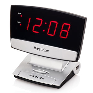 LED Clock w USB Charg. Port