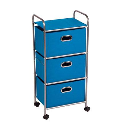 3drawer Rolling Fabric Cart Bl