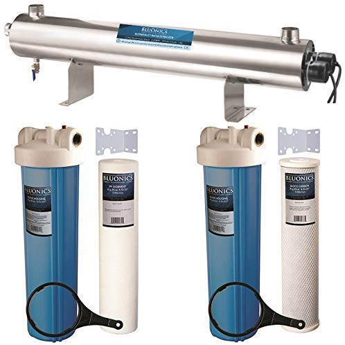 Bluonics 110W UV Ultraviolet + Sediment & Carbon Well Water Filter Purifier System / 24 GPM UV Sterilizer with Big Blue Size 4.5