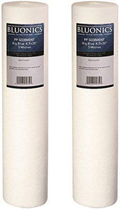 "BLUONICS 4.5"" x 20"" Big Blue Sediment Replacement Water Filters Package of 2 (5 Micron) Standard Size Whole House Cartridges for Rust, Iron, Sand, Dirt, Sediment and Undissolved Particles"