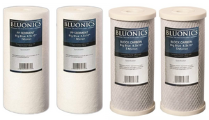 "Big Blue Sediment (1 Micron) & Carbon Block (5 Micron) Replacement Water Filters 4pcs for 4.5"" x 10"" Whole House Filters"