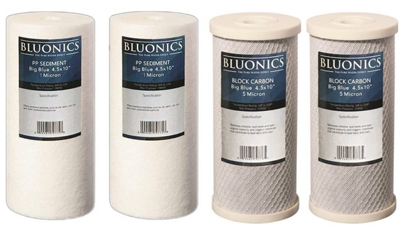 Big Blue Sediment (1 Micron) & Carbon Block (5 Micron) Replacement Water Filters 4pcs for 4.5