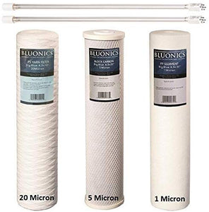 "String-wound Sediment, CTO Carbon & Sediment + UV Bulb Replacement Filter Set for our Well Water System > 3pcs 4.5"" x 20"" Whole House Cartridges + Lamps"