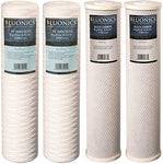 4 piece String-wound Yarn Sediment & CTO Carbon Block Replacement Water Filters (5 Micron) Big Blue Size 4.5 x 20 Whole House Cartridges