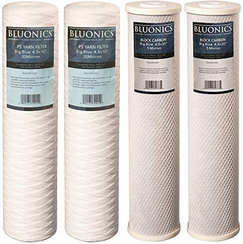 String-wound Yarn Sediment & Carbon Block Replacement Water Filters 4pcs (5 Micron) Big Blue Size 4.5