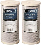 "2-pack Bluonics Big Blue Carbon Block Water Filters 5-Micron 4.5"" x 10"" Cartridges for Chlorine, Pesticides, Herbicides, Bad Taste and Odor"