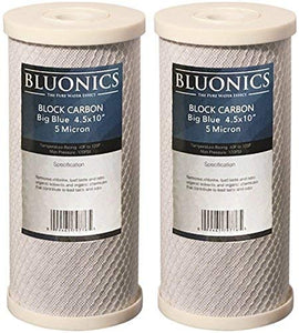 "BLUONICS Big Blue Carbon Block Replacement Water Filters 2 pcs (5 Micron) 4.5"" x 10"" Cartridges for Chlorine, Pesticides, Herbicides, Insecticides, Bad Taste and Odor"
