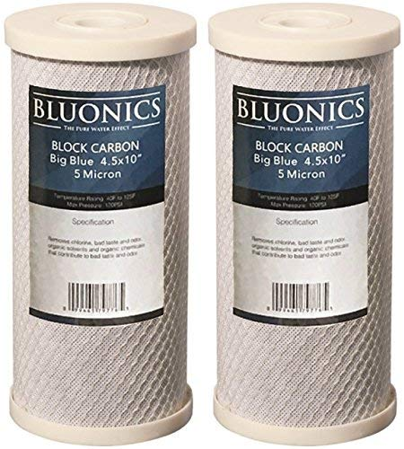 BLUONICS Big Blue Carbon Block Replacement Water Filters 2 pcs (5 Micron) 4.5