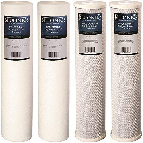 Big Blue Sediment and Carbon Block Replacement Water Filters 4pcs (5 Micron) 4.5