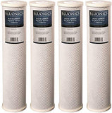 "BLUONICS Big Blue Carbon Block Replacement Water Filters 4 pcs (5 Micron) 4.5"" x 20"" Cartridges for Chlorine, Pesticides, Herbicides, Insecticides, Bad Taste and Odor"