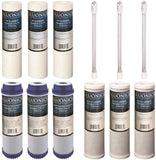 BLUONICS 12 pc Replacement Water Filter Set for Our 4 Stage UV Under Sink Filter System. Sediment Carbon Block GAC UV Bulb