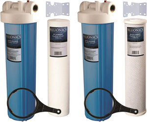 "Two 20"" BLUONICS Big Blue Whole House Water Filters with Sediment & Carbon 4.5 x 20"" Filter Cartridges Included"