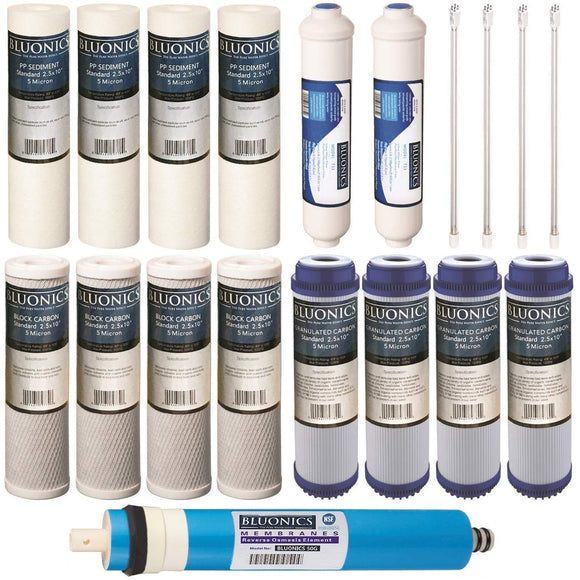 Bluonics 19 pcs Replacement Water Filter Set for our 6 Stage UV Reverse Osmosis System 50GPD