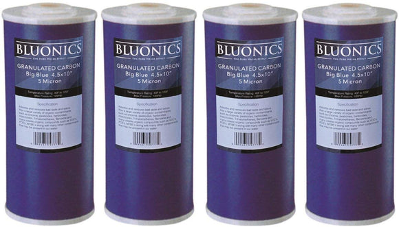 Big Blue Carbon Replacement Water Filters 4pcs GAC Granulated 4.5