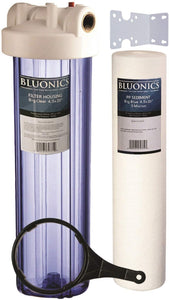 "BLUONICS 20"" Big Blue Whole House Water Filter 5 Micron Sediment Cartridge for Rust, Iron, Sand, Dirt, Sediment and Undissolved Particles with CLEAR BLUE TRANSPARENT HOUSING"