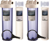 "Two 20"" Big Blue Whole House Water Filters w/Sediment & Carbon with CLEAR BLUE TRANSPARENT HOUSINGS"