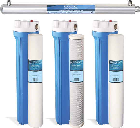 LUONICS Whole House & Well Water System 55W UV Ultraviolet with Sediment & CTO Carbon with Solid Blue Housing