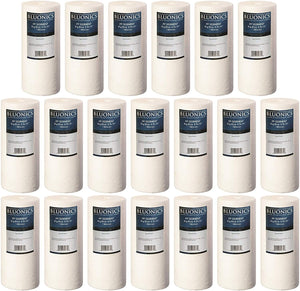 "BLUONICS 4.5"" x 10"" Big Blue Sediment Replacement Water Filters 20pcs (5 Micron) Standard Size Whole House Cartridges for Rust, Iron, Sand, Dirt, Sediment and Undissolved Particles"