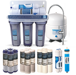 Bluonics 5 Stage Undersink Reverse Osmosis RO Drinking Water Filter NSF Certified 50 GPD Treat Virus and Bacteria with Clear Housings & 4 yrs Supply