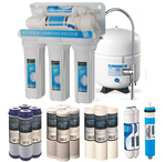 Bluonics 5 Stage Undersink Reverse Osmosis RO Drinking Water Filter NSF Certified 50 GPD Treat Virus and Bacteria with Solid Housings & 4 yrs Supply