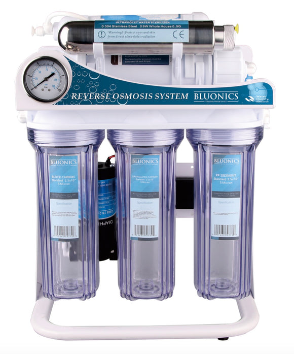 Bluonics Reverse Osmosis Ultraviolet Water Filter System UV Sterilizer Treat Virus and Bacteria RO 6 Stage 100 GPD with Booster Pump and 4 Gallon tank