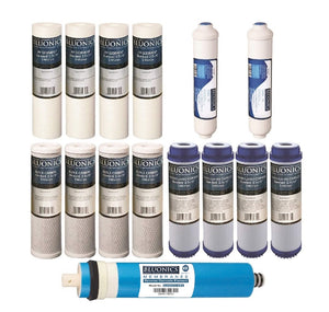 Bluonics Reverse Osmosis Replacement Filter Set RO Cartridges 15 pcs w/ 400 GPD Membrane