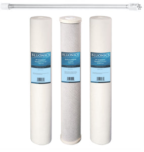 "Bluonics 20"" x 2.5"" Sediment & CTO Carbon Replacement Filter Set with 55W UV bulb"