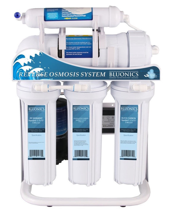 Bluonics 400GPD Tankless 5 Stage Reverse Osmosis Drinking Water Under Sink RO Purifier Treat Virus and Bacteria with Stand and Booster Pump
