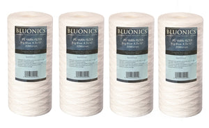 "Bluonics 4 Big Blue String Wound Sediment Filter 20 Micron 4.5"" x 10"" Whole House Cartridges"