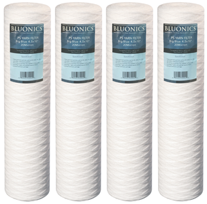 "4pcs Bluonics 4.5"" x 20"" Big Blue String-wound Yarn Sediment (20 Micron) Whole House Cartridges for Rust, Iron, Sand, Dirt, Sediment"