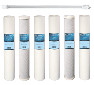 "Bluonics 55W UV + Sediment & CTO Carbon Replacement Filter Set for our Well Water System 2.5""x20"""