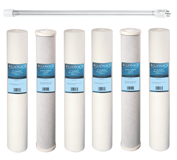 Bluonics 55W UV + Sediment & CTO Carbon Replacement Filter Set for our Well Water System 2.5