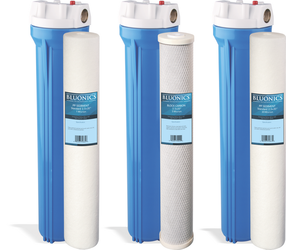 Bluonics Whole House Water Filter Purifier Sediment & CTO Carbon 3 High Flow 2.5
