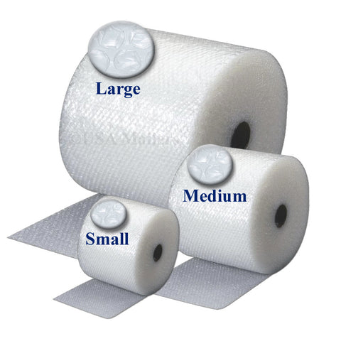 "Small (3/16"") -  Medium (5/16"") - Large (1/2"") Bubble Wrap Rolls"