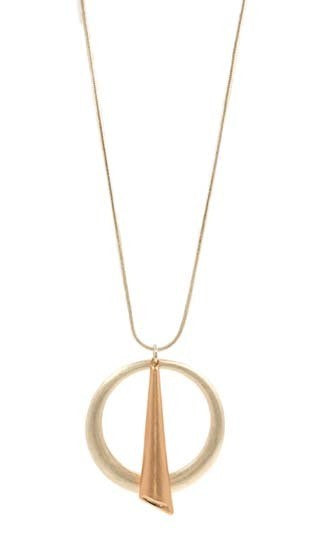 Long Necklace with Silver Circle and Rose Gold Accent