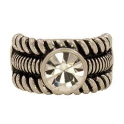 Stretch Ring CZ w/ Wide Ribbed Design