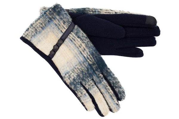 Navy Gloves with Blue Brushed Tartan