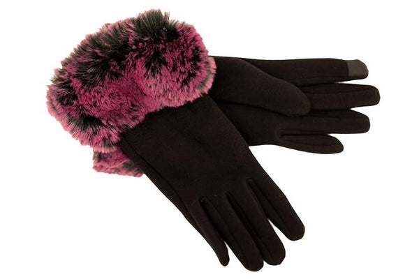 Black Gloves with Magenta Faux Fur Cuff