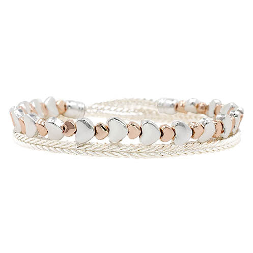 Bracelet Double Stretch Hearts (Rosegold & Silver)