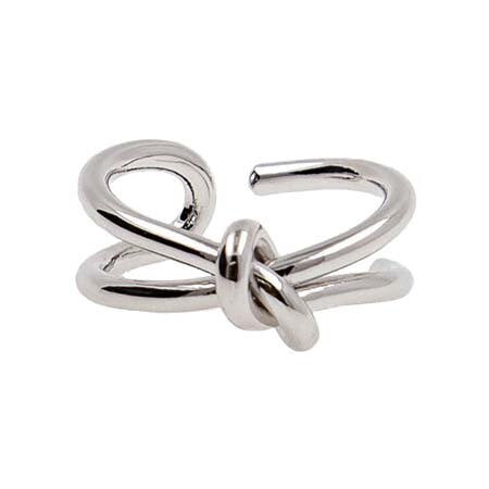 Adjustable Ring w/ Shiny Silver Knot Design