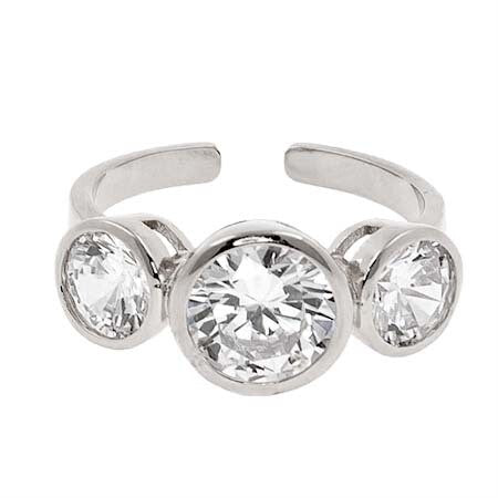 Adjustable Ring w/ 3 CZ Stones
