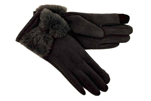 Black Micro Suede Glove with Fur Bow
