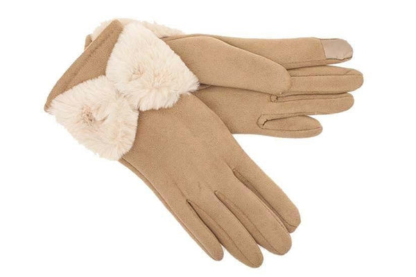 Tan Micro Suede Glove with Fur Bow