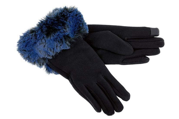 Black Gloves with Blue Faux Fur Cuff